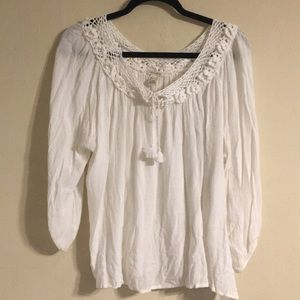 Crochet Trim Flowy Blouse